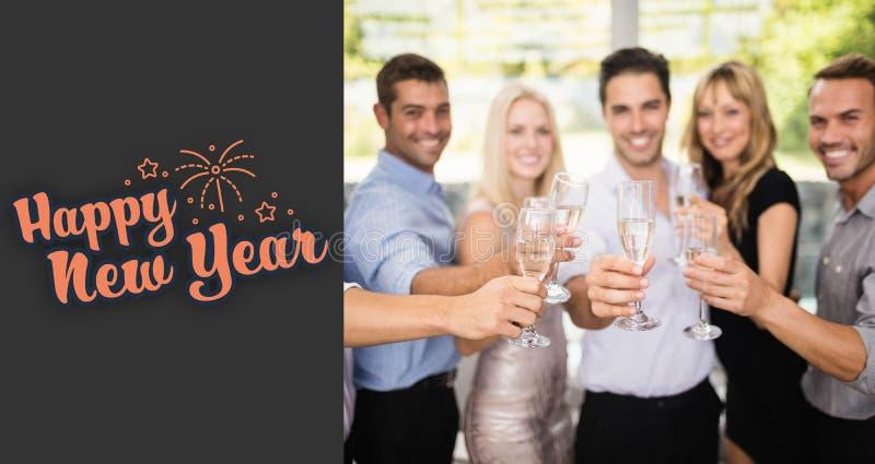 Sammansatt bild av gruppen av vänner som rymmer exponeringsglas av champagne royaltyfri illustrationer