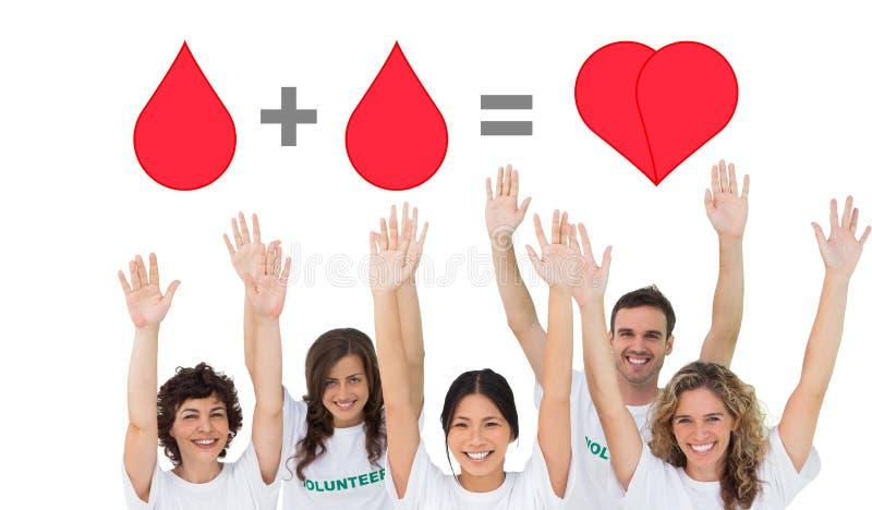 Sammansatt bild av gruppen av volontärer som lyfter armar royaltyfri foto