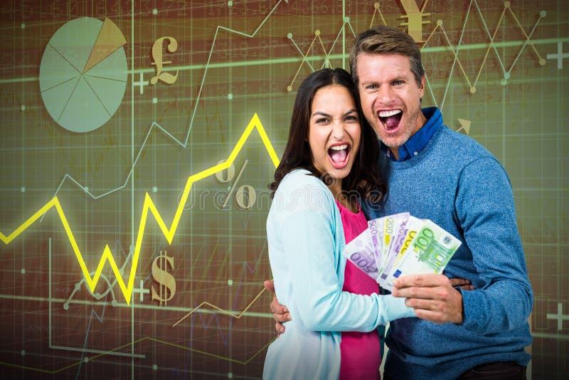 Sammansatt bild av hållande pengar för upphetsade par vektor illustrationer
