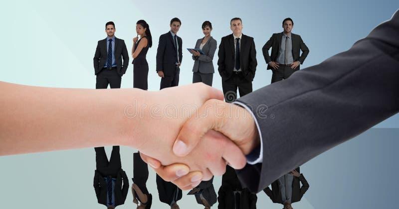 Sammansatt bild av handskakningen framme av affärsfolk med blå bakgrund royaltyfri illustrationer
