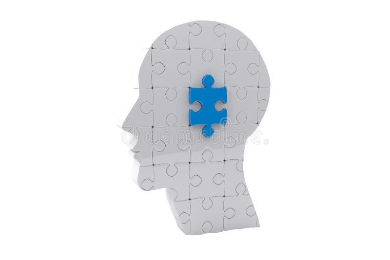 Sammansatt bild av hjärnan med figursågstycket vektor illustrationer