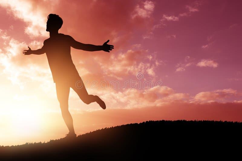 Sammansatt bild av idrottsman nenmannen som poserar efter seger arkivfoto