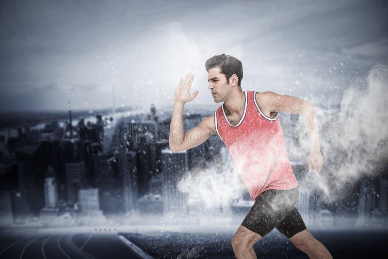 Sammansatt bild av idrottsman nenmanspring på vit bakgrund arkivfoton
