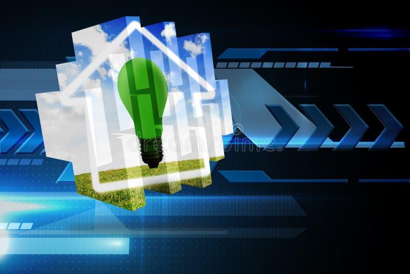 Sammansatt bild av klarteckenkulan på den abstrakta skärmen vektor illustrationer