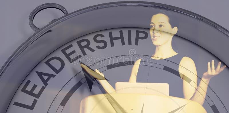 Sammansatt bild av kompasset som pekar till ledarskap royaltyfri illustrationer