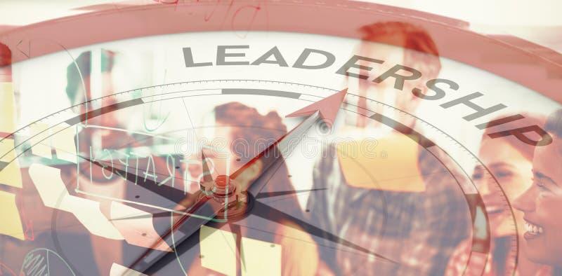 Sammansatt bild av kompasset som pekar till ledarskap vektor illustrationer