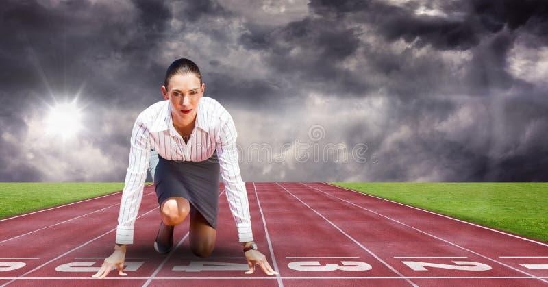 Sammansatt bild av kvinnan på sporten stock illustrationer