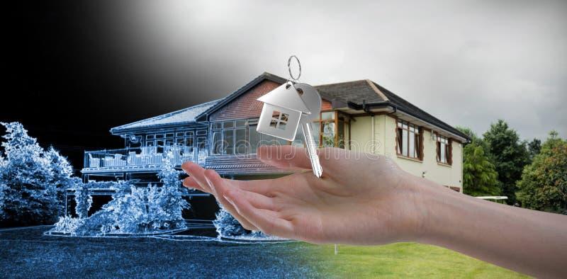 Sammansatt bild av kvinnas hand genom att använda den osynliga skärmen fotografering för bildbyråer