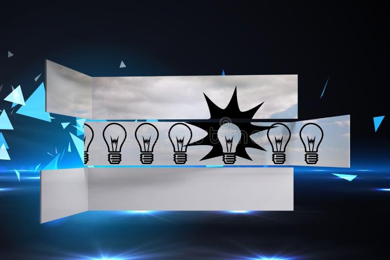 Sammansatt bild av ljusa kulor på den abstrakta skärmen royaltyfri illustrationer