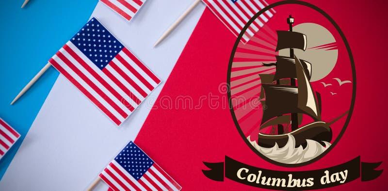 Sammansatt bild av logoen för för händelsecolombus för händelse amerikansk dag fotografering för bildbyråer