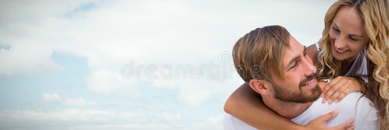 Sammansatt bild av lyckliga älska par fotografering för bildbyråer
