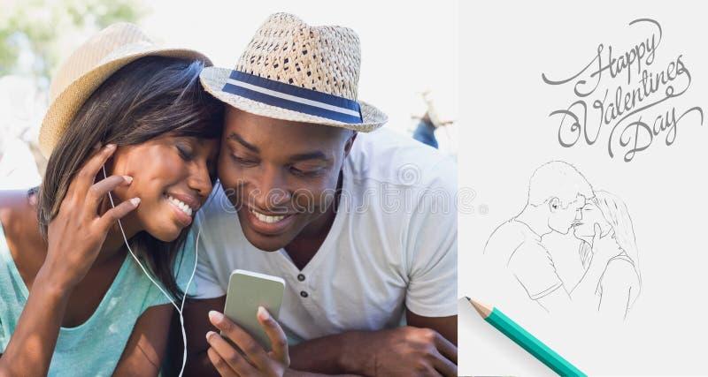 Sammansatt bild av lyckliga par som ligger i trädgården som lyssnar tillsammans till musik vektor illustrationer
