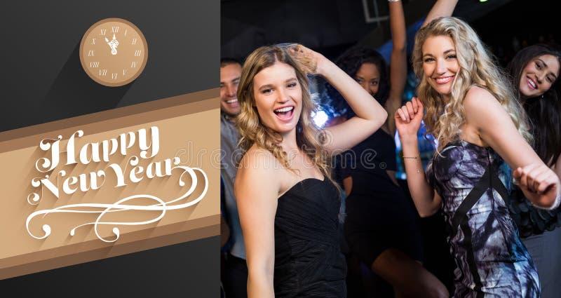 Sammansatt bild av lyckliga vänner som tillsammans dansar stock illustrationer