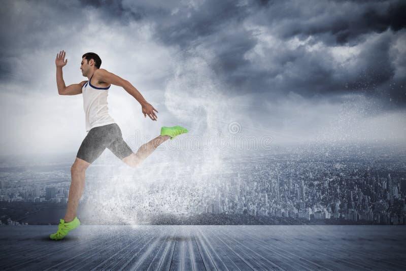 Sammansatt bild av manlig idrottsman nenspring på vit bakgrund royaltyfri bild
