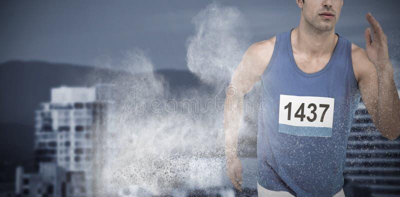 Sammansatt bild av manlig idrottsman nenspring på vit bakgrund royaltyfri foto