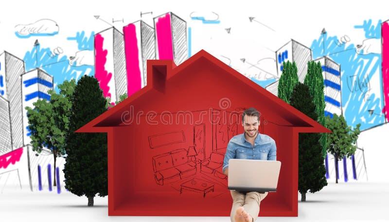 Sammansatt bild av mannen som använder en bärbar dator royaltyfri bild