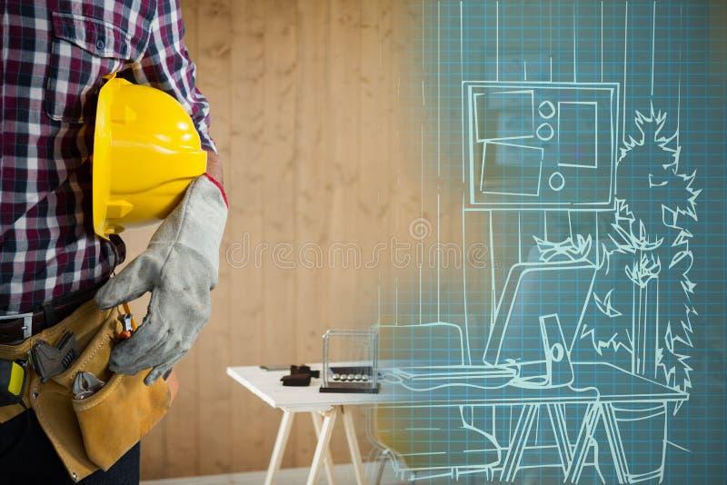 Sammansatt bild av mitt--avsnittet av byggnadsarbetaren royaltyfri bild