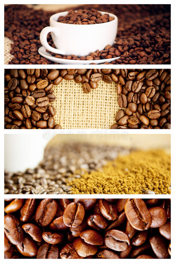 Sammansatt bild av morgonkaffe med bönor fotografering för bildbyråer