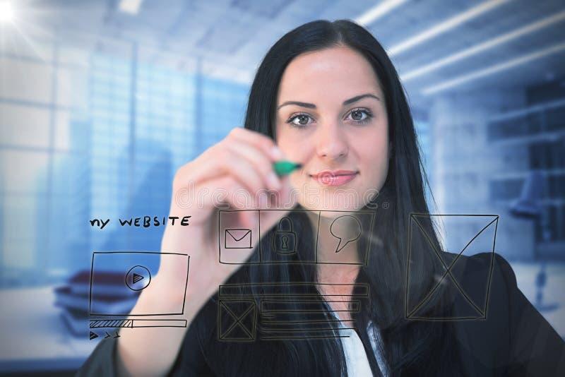 Sammansatt bild av nätt affärskvinnahandstil med markören fotografering för bildbyråer