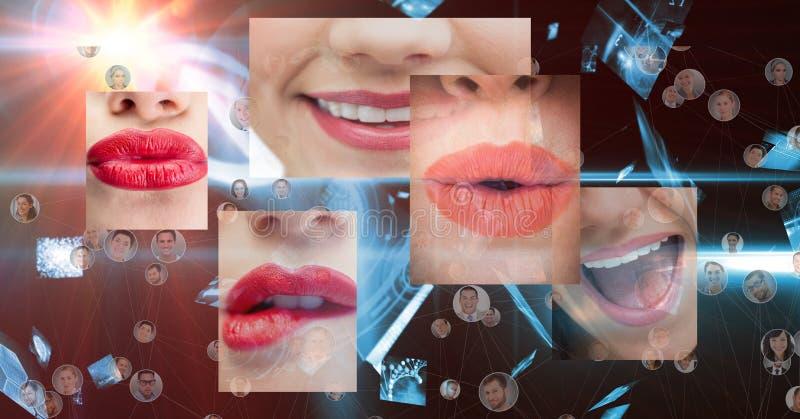 Sammansatt bild av olika munnar och framsidor i bakgrund stock illustrationer