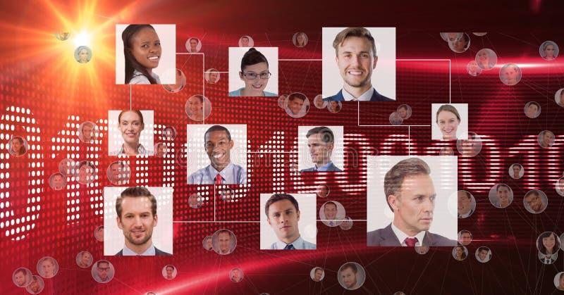 Sammansatt bild av organisationsdiagrammet med röd bakgrund stock illustrationer