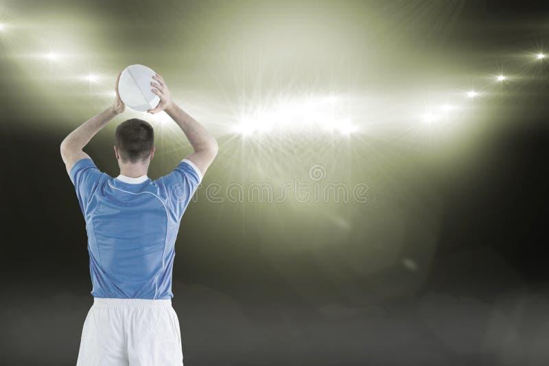 Sammansatt bild av rugbyspelaren omkring som kastar en rugbyboll 3D fotografering för bildbyråer