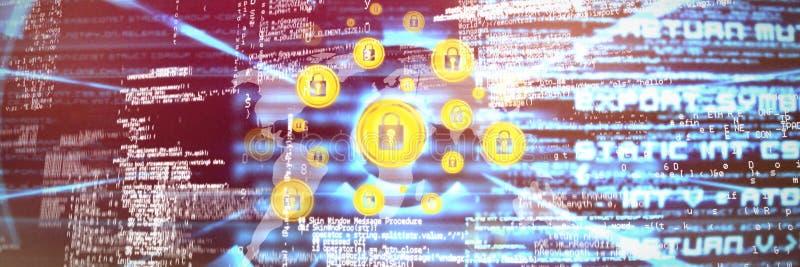 Sammansatt bild av säkerhetslåset mot världskarta royaltyfri foto