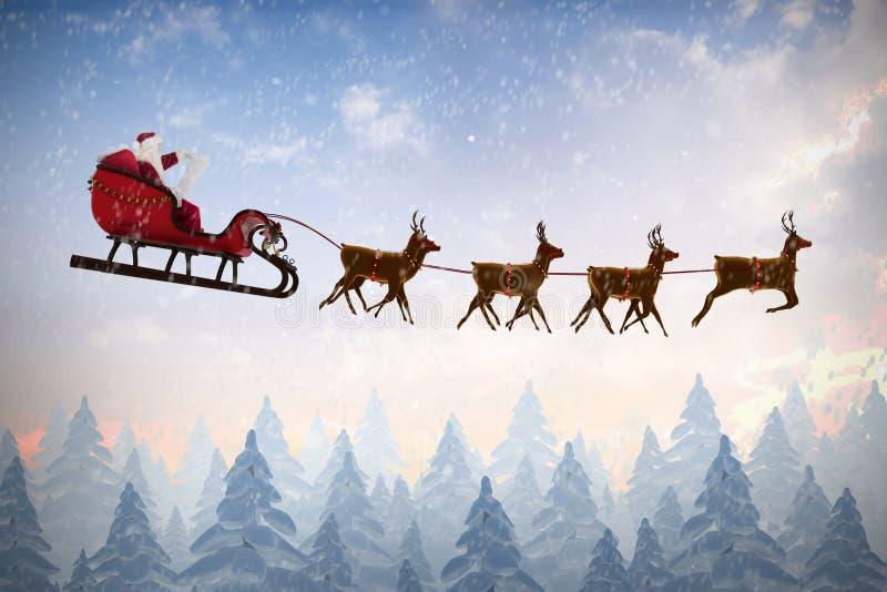 Sammansatt bild av sidosikten av den Santa Claus ridningen på släde under jul arkivbilder