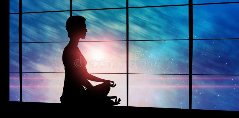 Sammansatt bild av sidosikten av den praktiserande meditationen för person royaltyfri fotografi