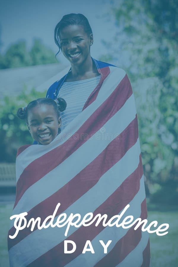 Sammansatt bild av självständighetsdagentext mot vit bakgrund stock illustrationer