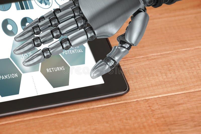 Sammansatt bild av slutet upp av den robotic handen royaltyfri illustrationer