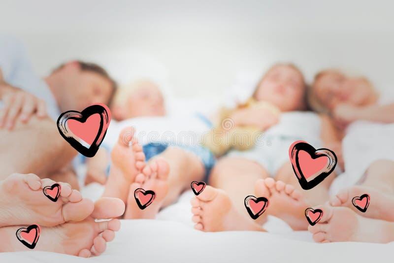 Sammansatt bild av slutet upp av foten av en familj stock illustrationer