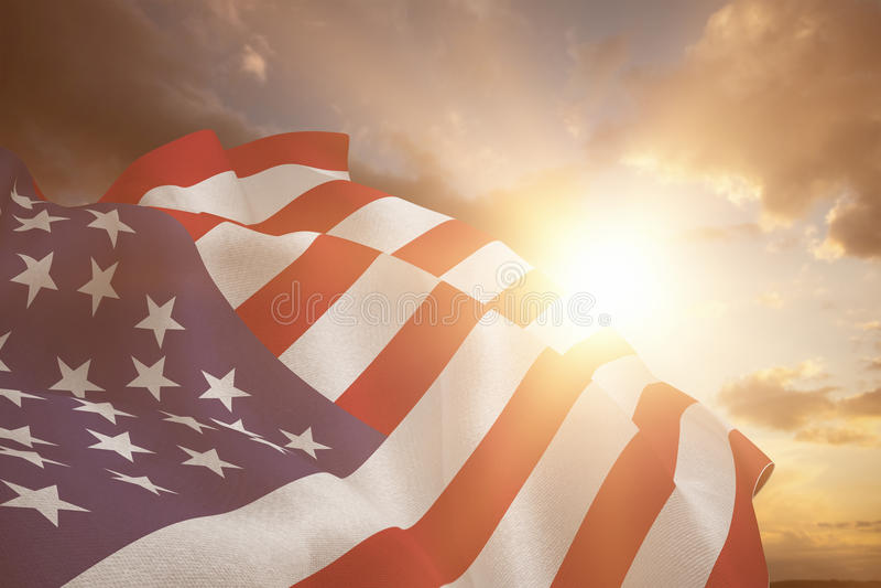 Sammansatt bild av slutet upp av oss flagga arkivbild