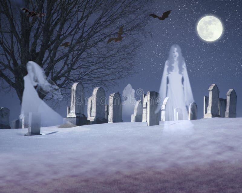 Sammansatt bild av spökar och slagträn under en fullmåne i en snöig kyrkogård, VT royaltyfri foto