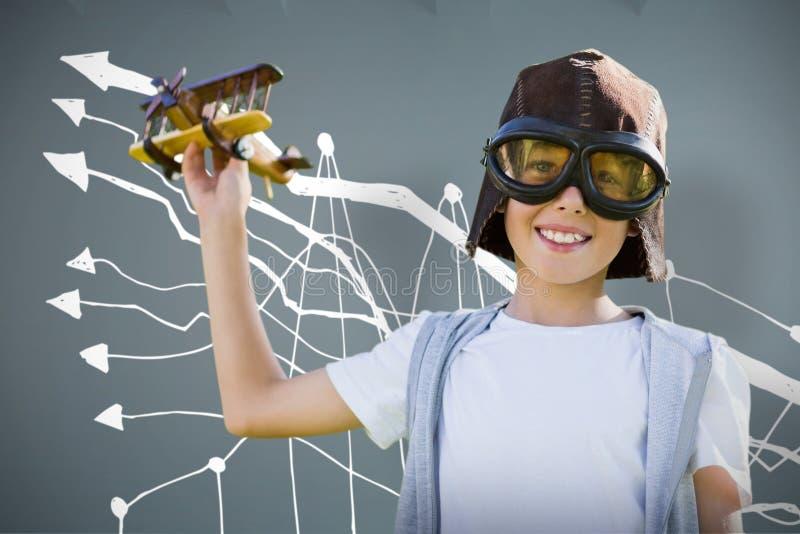 Sammansatt bild av ståenden av bärande flygskyddsglasögon för pojke med leksaken vektor illustrationer