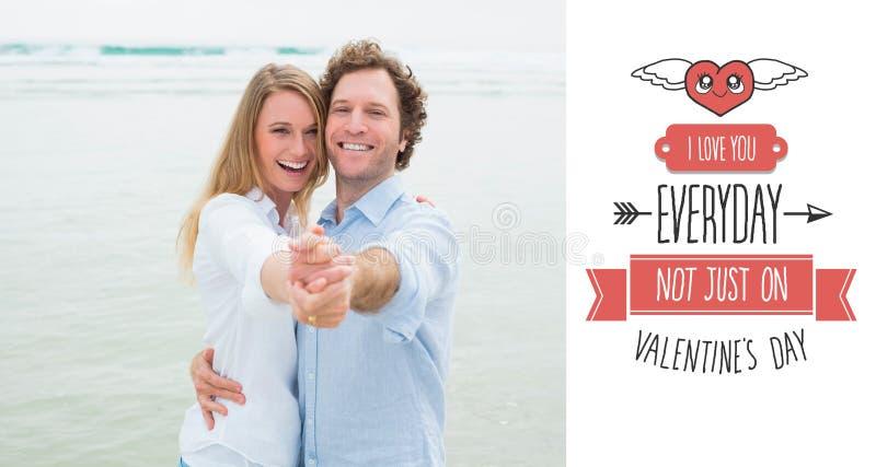 Sammansatt bild av ståenden av den gladlynta pardansen på stranden royaltyfri illustrationer