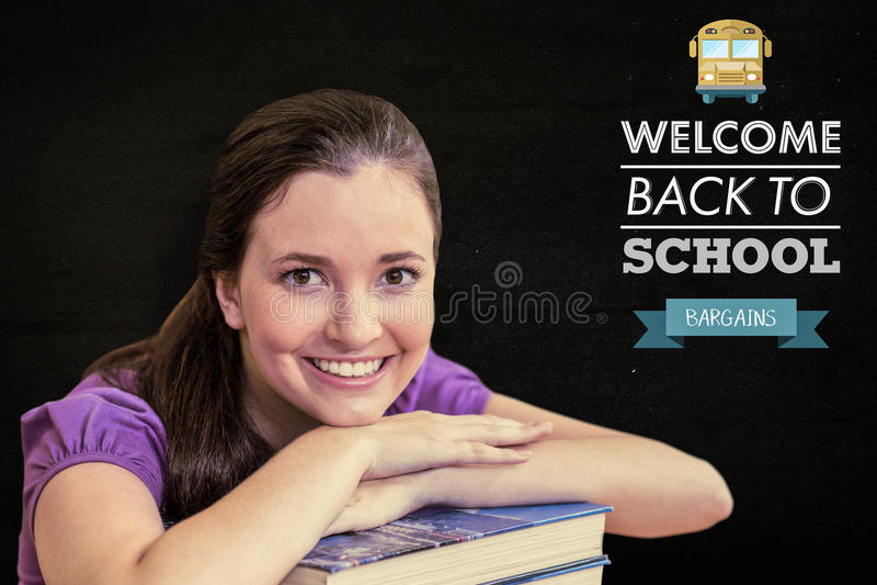 Sammansatt bild av ståenden av den kvinnliga studenten i arkiv arkivbild