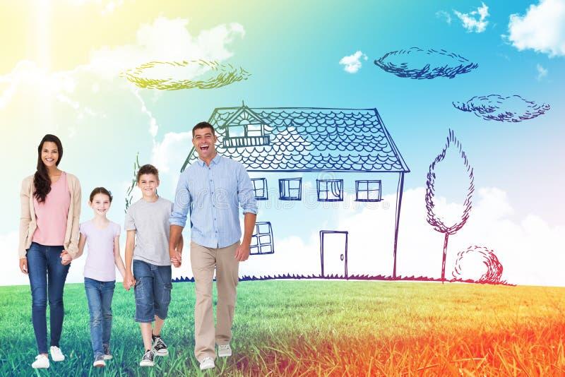 Sammansatt bild av ståenden av den lyckliga familjen som går över vit bakgrund arkivbilder