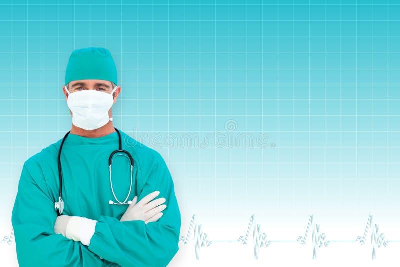 Sammansatt bild av ståenden av en ambitiös kirurg arkivfoton