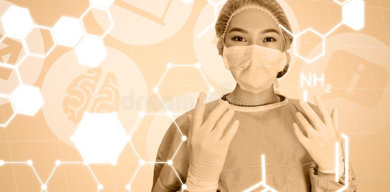 Sammansatt bild av ståenden av kirurgkvinnaläsning för kirurgi arkivfoton