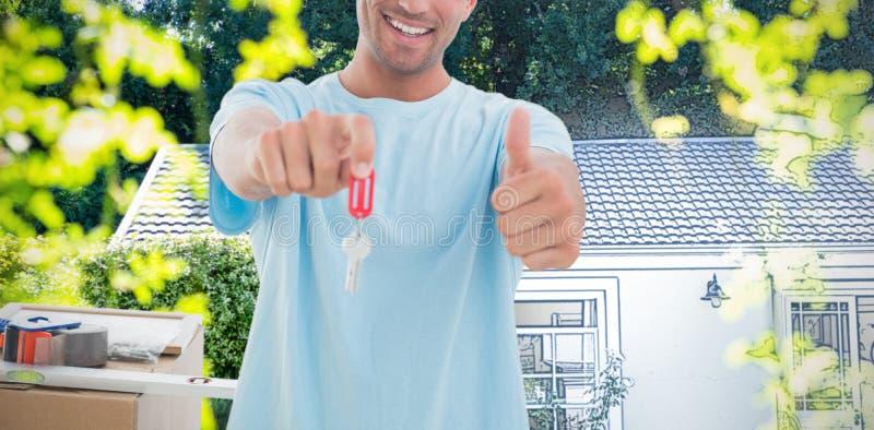 Sammansatt bild av tangenten för nytt hus för man den hållande ut, medan göra en gest upp tummar royaltyfria foton