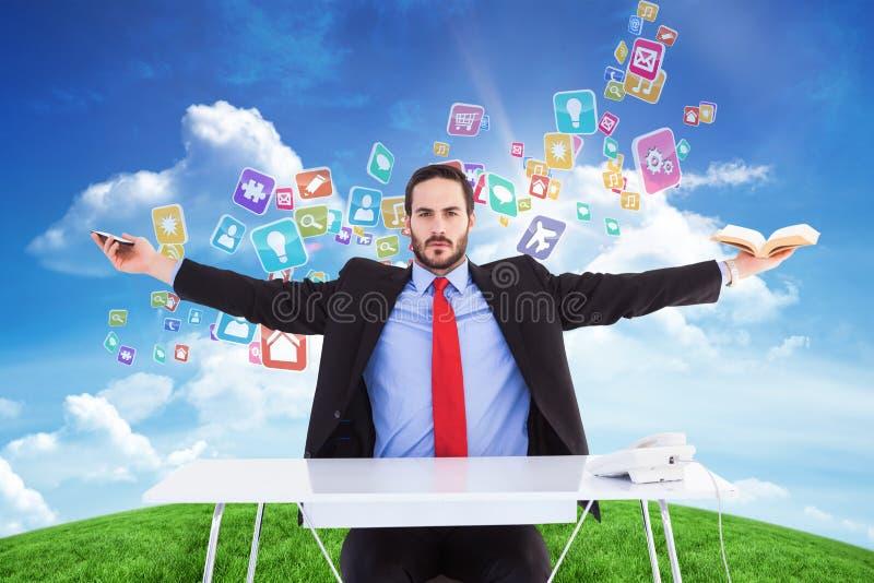 Sammansatt bild av unsmiling affärsmansammanträde med utsträckta armar royaltyfria bilder