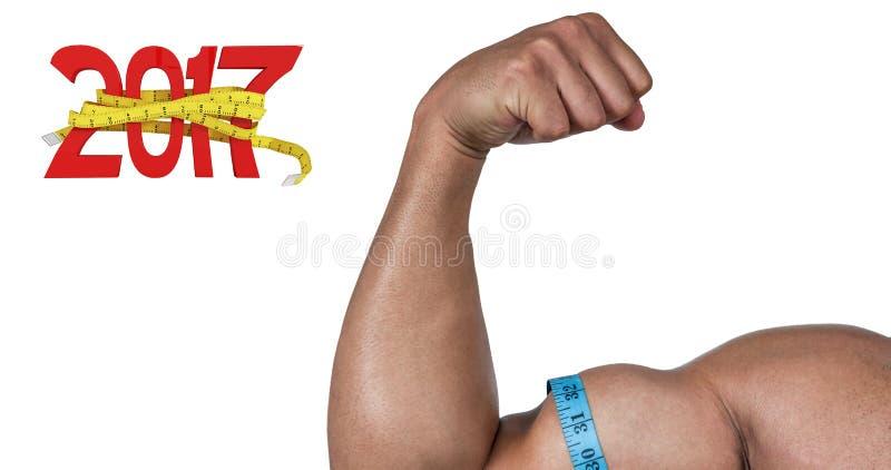 sammansatt bild 3D av den muskulösa mannen som böjer för kamera arkivbild