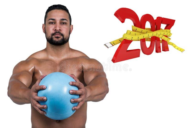 sammansatt bild 3D av den muskulösa mannen som utarbetar med vikt arkivfoto