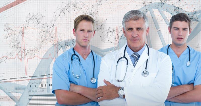 sammansatt bild 3D av ståenden av den säkra manliga doktorn med kirurger royaltyfria bilder