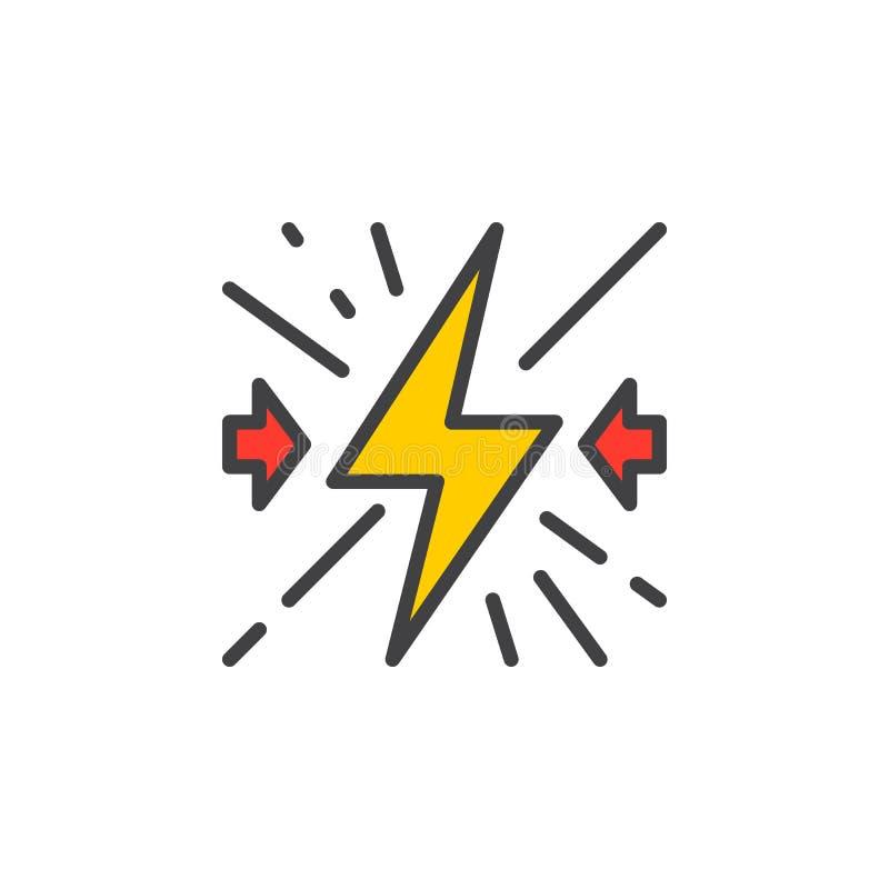 Sammanstötningen fyllde översiktssymbolen, linjen vektortecknet, linjär färgrik pictogram royaltyfri illustrationer