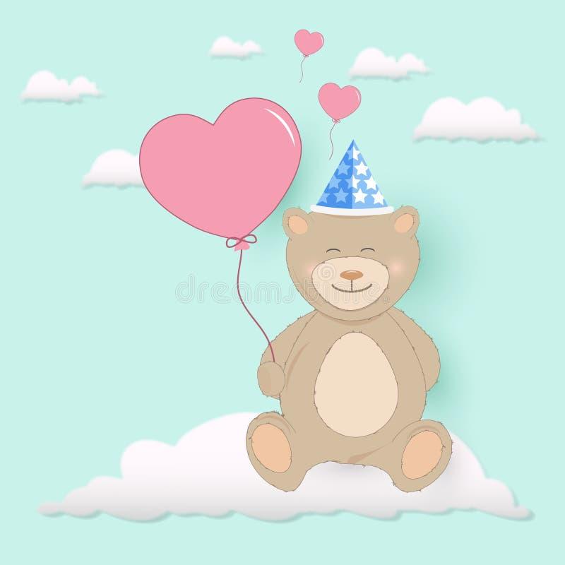 Sammanträde för ballong för hjärta för nallebjörn hållande på molnhälsningkort stock illustrationer