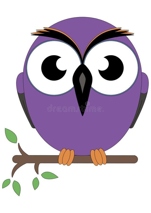 Den kloka gammala owlen satt på en tree förgrena sig vektor illustrationer