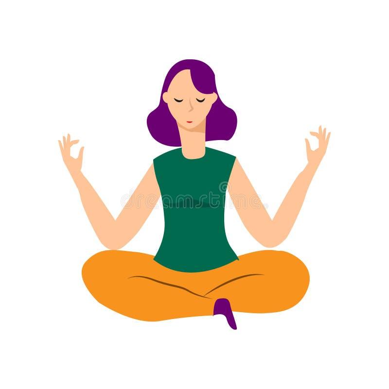 Sammanträde för den unga kvinnan i yogalotusblomma poserar Meditera flickaillustrationen Yogakvinna, meditation, anti--spänning f vektor illustrationer