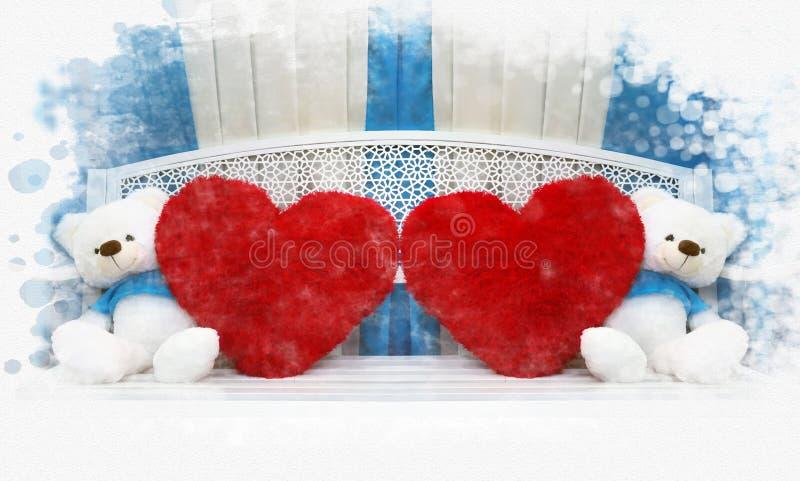 Sammanträde för dockan för parnallebjörnen på bänk med röd hjärta kudde royaltyfria foton